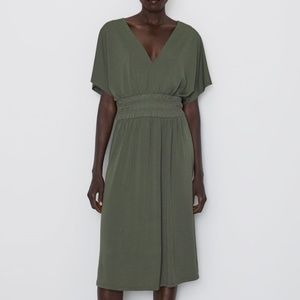 ZARA Green Elastic Waist Midi Dress
